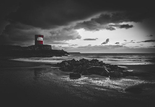 red sea sky blackandwhite tower water skyline clouds landscape nikon rocks cloudy stones pebbles jersey blacknwhite channelisland archirondel nikond7000