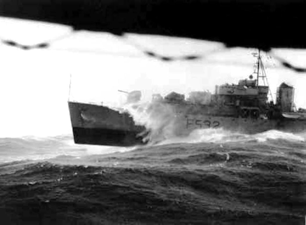 Ca.1952. HMAS MACQUARIE draws abreast a companion - HMAS CERBERUS MUSEUM.