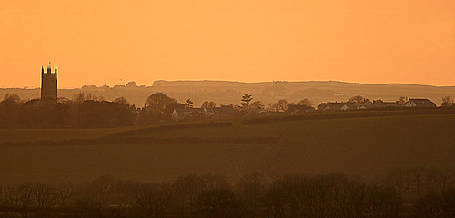 uk trees light sunset sky colour building tower church landscape spring cornwall glow april fields layers flockofbirds stevemaskell helland 2013 stbreward cal14 yahoo:yourpictures=duskdawn