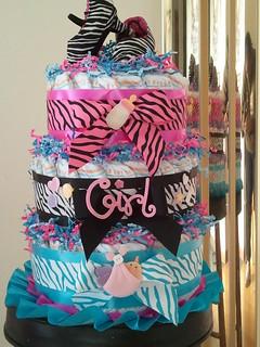 Zebra Diva diaper cake