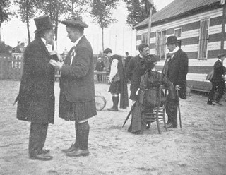 M.W. Healy & F.J. Biggar (kilt) at Malines, Belgium on hurling tour, part of Pan Celtic Congress, 1910