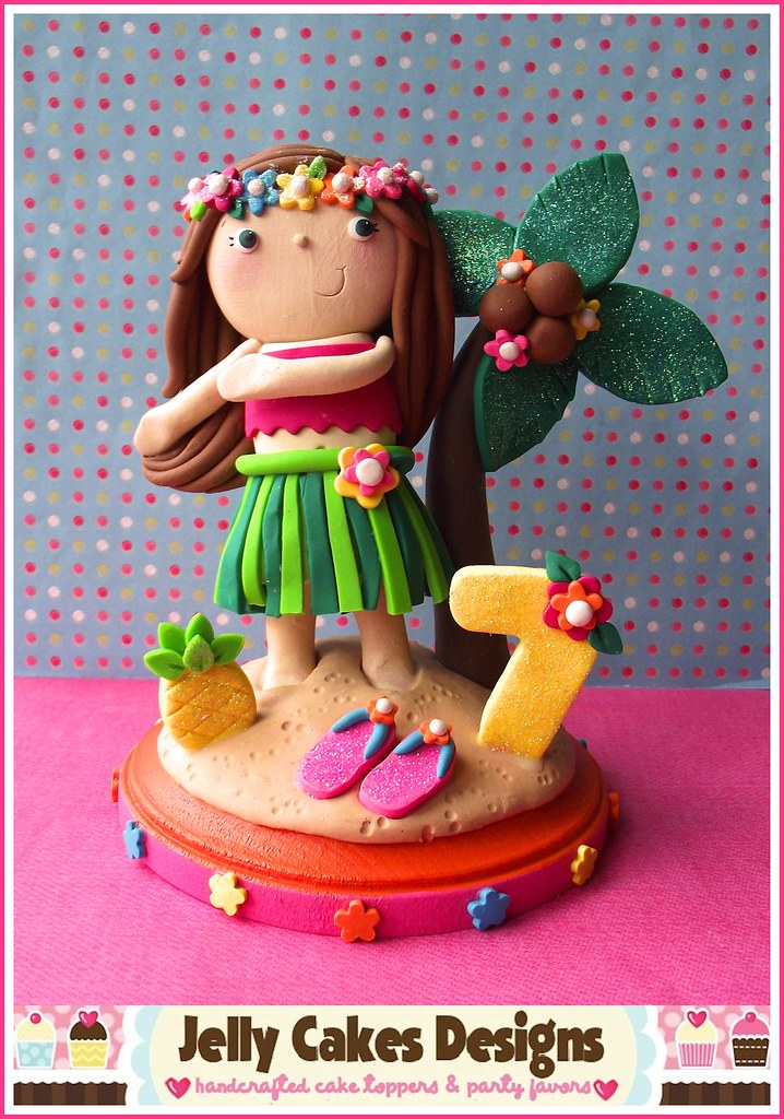Luau Girl Birthday Cake Topper