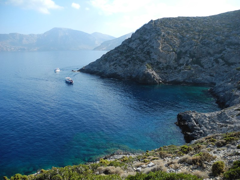 Sun, sea and sport climbing. Here's the ferry to Telendos