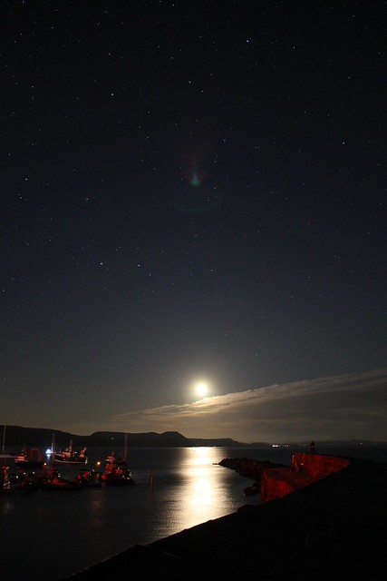 The Moon Rising over Lyme Regis Harbour