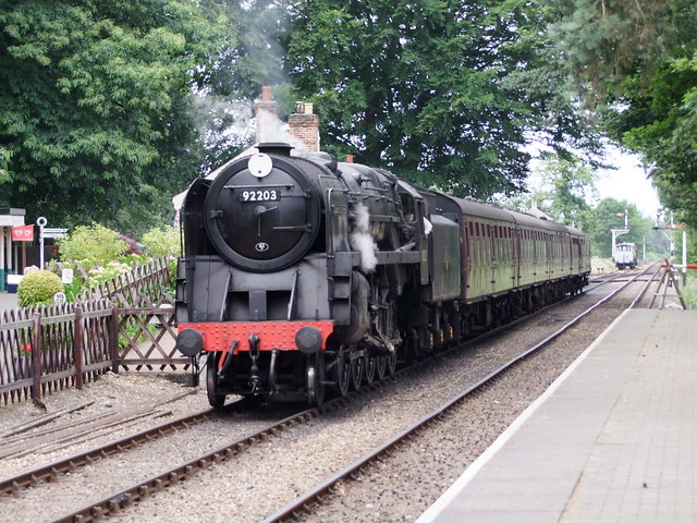9F Black Prince 92203 at Holt with an afternoon train from Sheringham 07-07-18