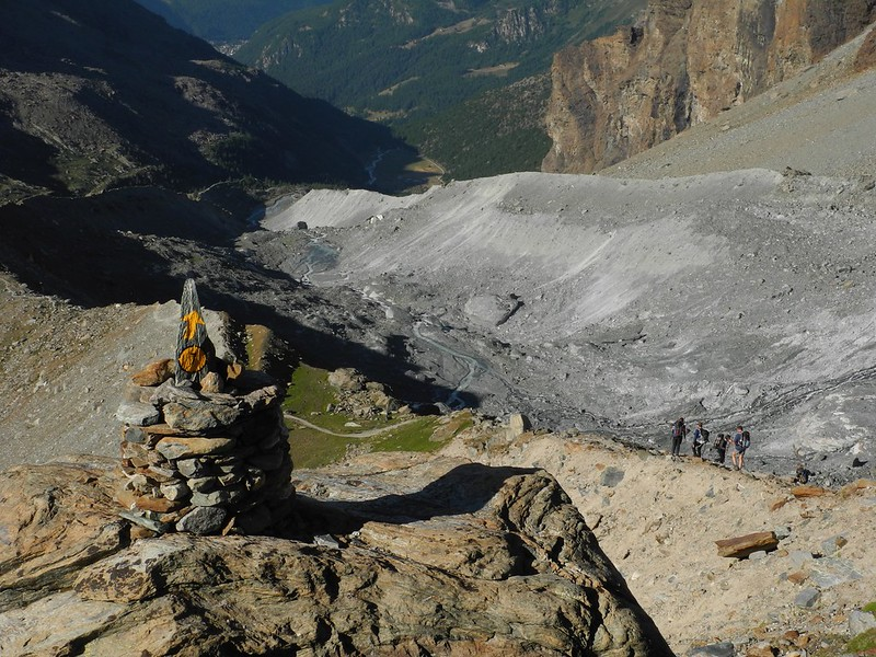 Descent towards Champoluc in the Val d'Ayas of Italy
