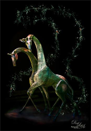 Image of Bronze Giraffe Sculptures from the Philip Hulitar Sculpture Garden in West Palm Beach