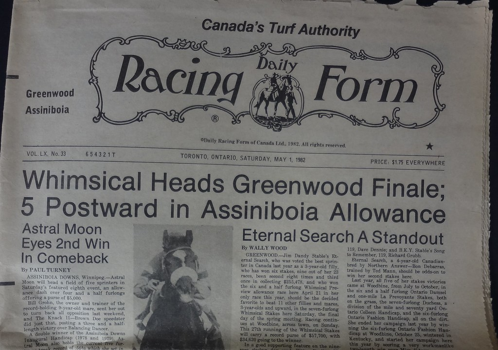 Greenwood Daily Racing Form 1982 | The Racetrack opened in 1… | Flickr