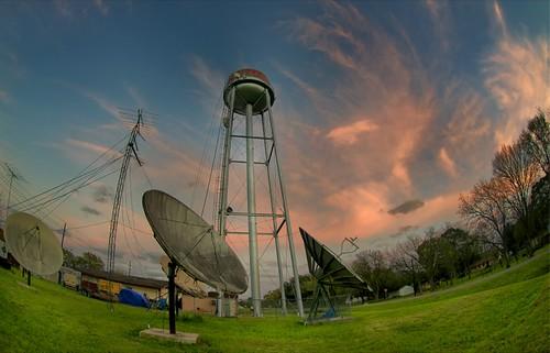 sunset clouds texas dusk watertower fisheye wallis satellitedishes orangeclouds austincounty wallistexas austincountytexas