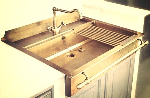 A brass kitchen sink | Love finding unusual items like this ...