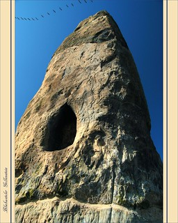 Kraniche (cranes - grues cendrées - grus grus) über dem Blieskasteler Gollenstein (Menhir)   by LauterGold