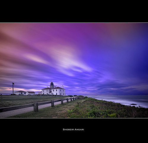 ocean longexposure ri lighthouse seascape architecture sunrise fence landscape dusk rhodeisland destination beavertail jamestown oceanstate beavertailstatepark beavertaillighthouse nd110 shobeiransari cloudmoving