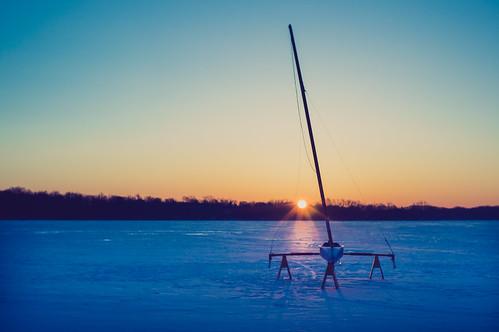 ice beauty sunrise reeds boat day sailing michigan sony voigtlander clear nokton egr eastgrandrapids reedslake iceyacht voigtlandernokton voigtlandernokton3514 iceyachting seanlancaster nex5n