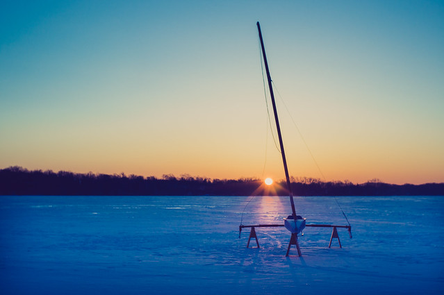 Ice Yacht at Sunrise