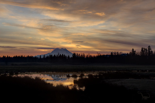trees sun mountains reflection nature water silhouette clouds rural sunrise canon landscape pond farm atmosphere rainier washingtonstate mtrainier t4i 1riverat matthewreichel