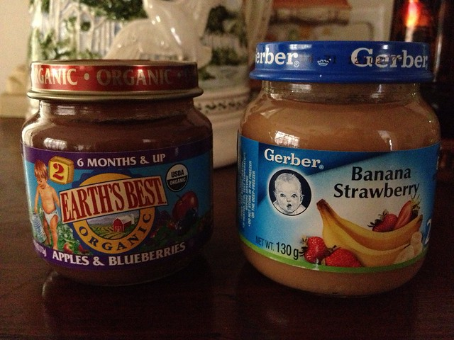 Earth's Best and Gerber's organic puréed fruits for babies