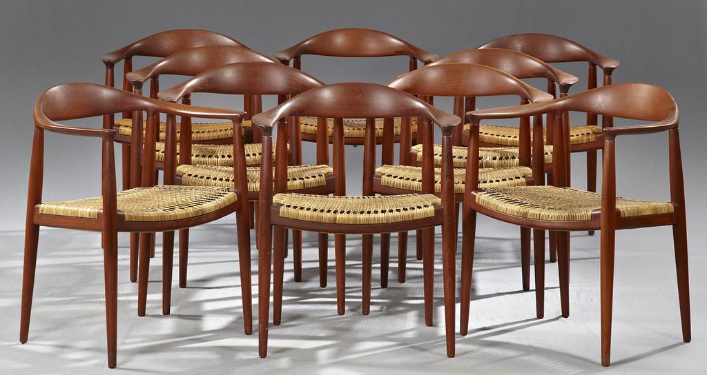 Set of Ten Hans Wegner 'The Chair' Carved Teak Armchairs