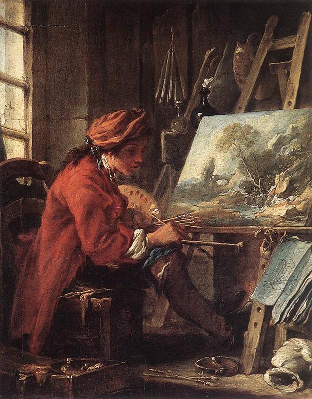 [ B ] François Boucher -Young Painter in his Studio (1720)