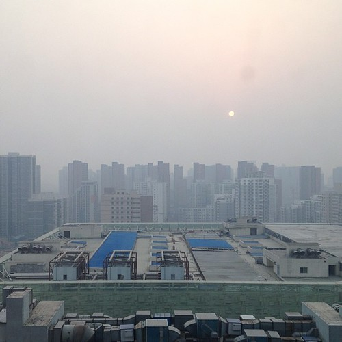 china city urban sunrise buildings square smog asia air beijing dirty pollution squareformat environment hazardous urbanization aqi iphoneography instagramapp uploaded:by=instagram foursquare:venue=50950318e4b055b34c757bfd