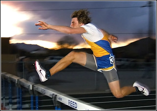 2013 Nevada NIAA HS Track & Field / Reed Sparks Rotary Invitational / South Tahoe - Brandon Cramer - 300m Hurdles Winner