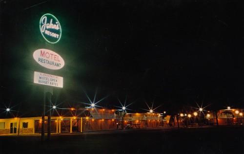 night vintage restaurant view florida postcard motel resort johns winterhaven