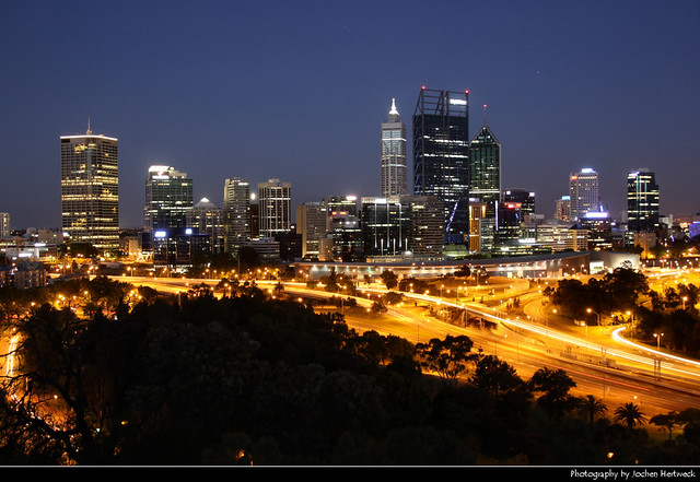 Skyline seen from Kings Park during Blue Hour, Perth, Australia