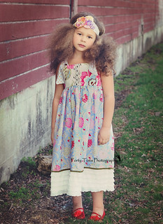 GYPSY***Ruffle Bottom Knot Dress with Vintage Lace Trim