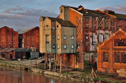 uk greatbritain blue light sunset england sky urban sun southwest english abandoned industry architecture docks buildings reflections landscape nikon industrial place britain dusk decay sigma bluesky gloucestershire historic gloucester warehouses wrecks oldengland d90 gloucesterdocks2011