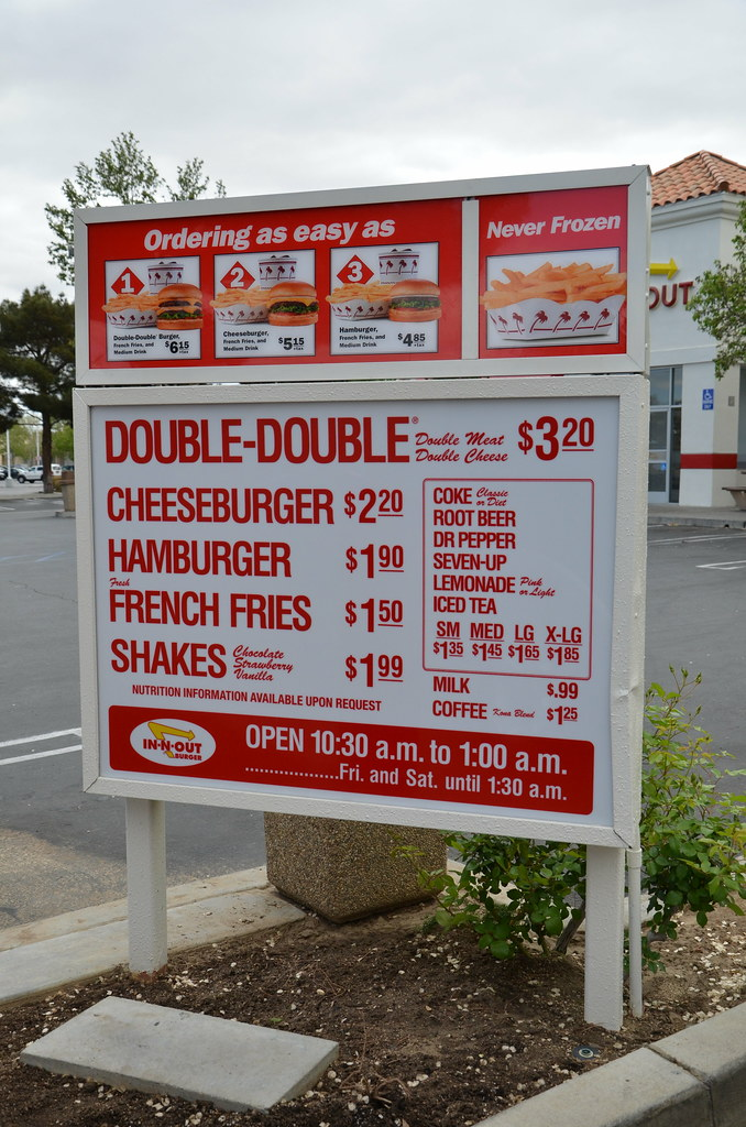 IN N OUT BURGER RESTAURANT DRIVE-THRU MENU with PRICES | Flickr