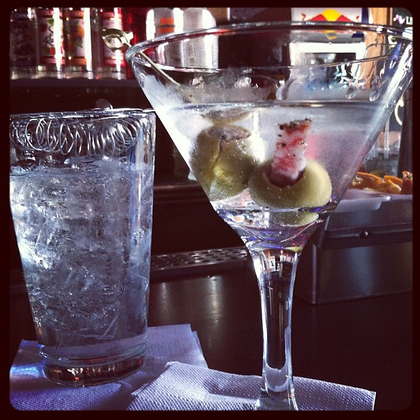 #kvpinmybelly Polish Vodka Martini w/ Sausage-stuffed olives. #YUM !! #happyhour wi/ hubby #cocktails #foodspotting