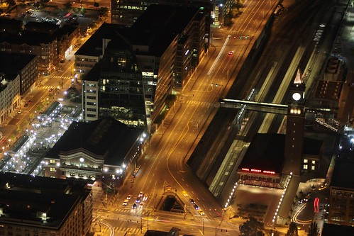 King Street Station and Union Station at night