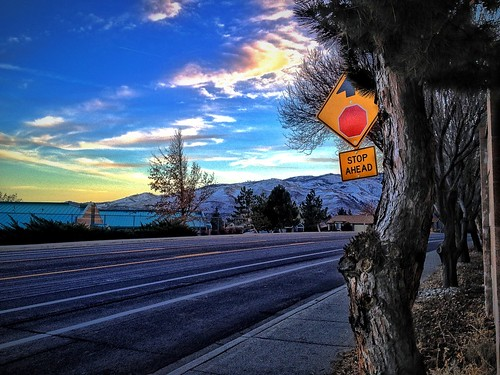 road street blue trees red sky mountains green sign yellow clouds landscape nevada nv sidewalk february reno ios vignette hdr cloudporn stopahead 2013 skyporn northernnevada photofx iphoneography iphone4s icamerahdr photoforge2 snapseed unitedbyedit uploaded:by=flickrmobile flickriosapp:filter=nofilter billinghurstmiddleschool