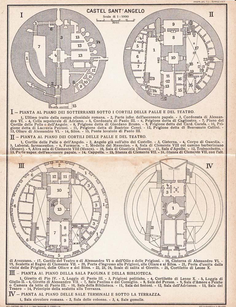 Castel Sant Angelo Architectural Floor Plan 1925 Mausoleum