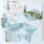 Kanoko (2013) oil on canvas, aluminum leaf, charcoal, ink, pigment, coloured pencil 230x230x30mm