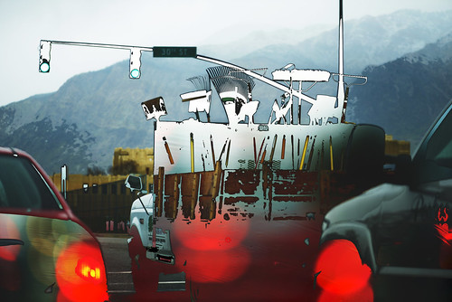 school truck lights day traffic rainy mounatins ogdenhigh karenandmc landscapertruck