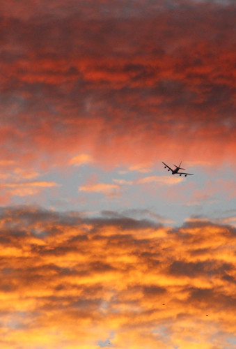 sunrise brisbane queensland australia plane aircraft aeroplane airport colour sky cloud clouds blue red yellow landing