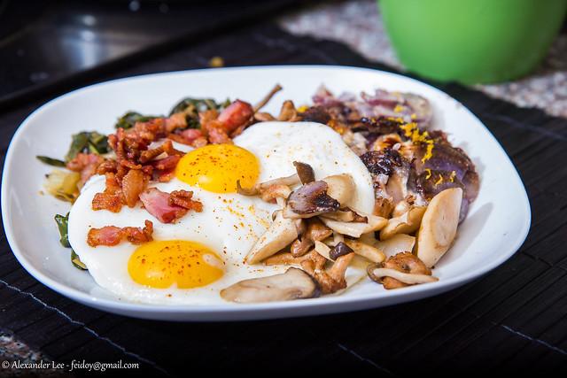 Breakfast for dinner.  Wild Mushrooms, Saute Greens, Crispy Berkshire Bacon - Meyer Lemon Purple Potato Gratin