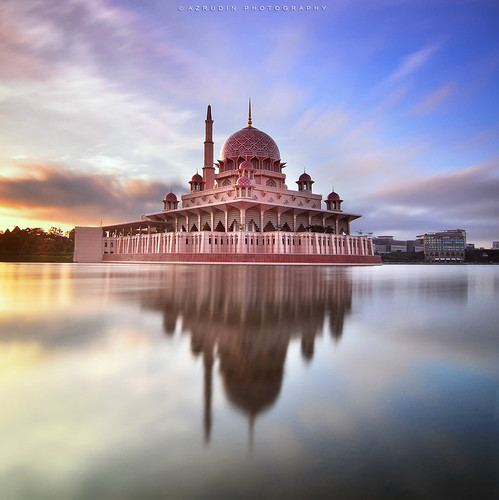 city travel light vacation sky cloud sun lake reflection art nature water silhouette stone architecture sunrise square landscape photography mirror still cityscape slow tokina1224 mosque filter squareformat malaysia slowshutter format kualalumpur putrajaya masjid scapes waterflow longexposures graduatedfilter bw110 sifoocom d7000 azrudin