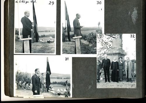 """Foto nr. 29 og 32 fra album: """"Stiklestad, Nasjonal Samling, Olsok-Helgen 28.-29. juli 1934""""."""