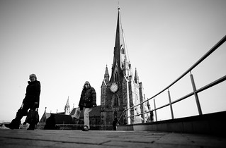 St Martins Church and passers by -  Birmingham 06.04.2013