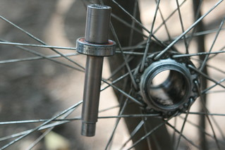 Myanmar, Yangon -  Feb 2013 - Replacing a sealed cassete bearing on my rear wheel - NOTE: the other side that is still good was made in WEST Germany (6002 size).  The one that failed was a Chinese bearing I replaced 10,000km before on the first trip in Ba