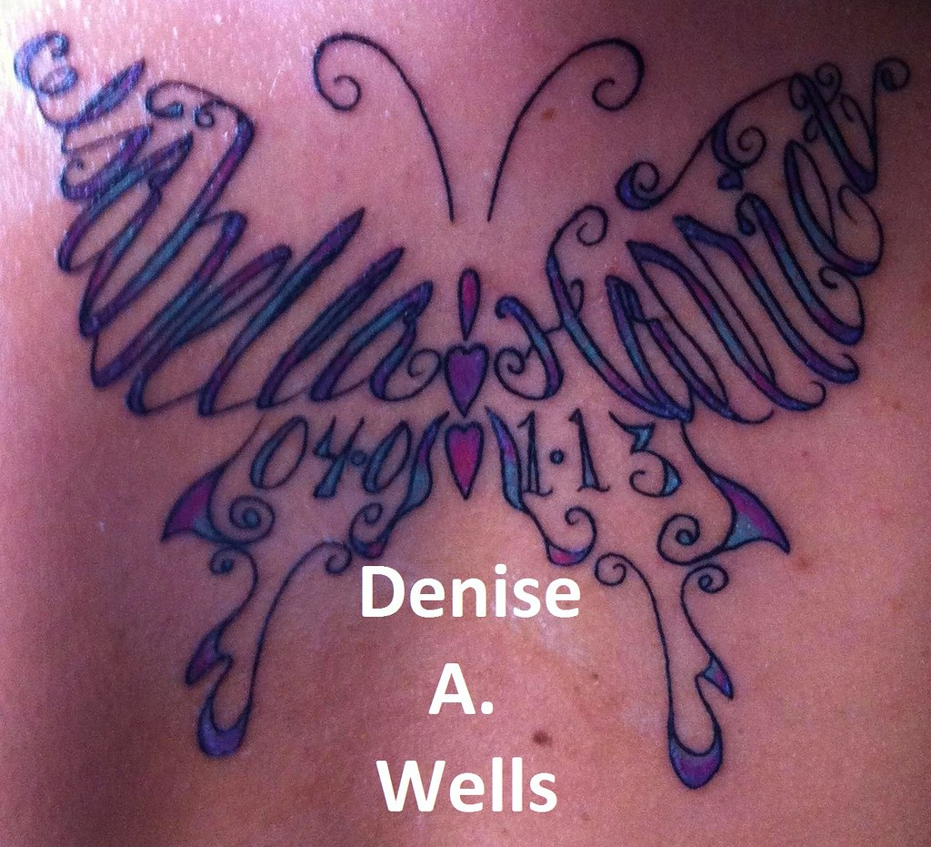 16b4af02a ... Names made into a butterfly shaped tattoo by Denise A. Wells | by ♥ Denise