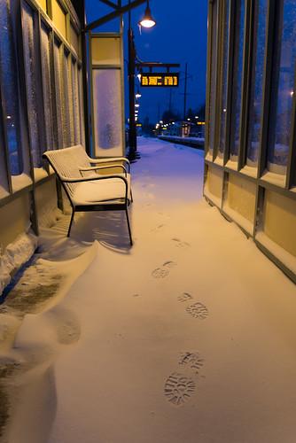 morning winter snow newyork storm sunrise town twilight village nemo platform footprints longisland trainstation february blizzard lirr locustvalley bootprint longislandrailroad 2013