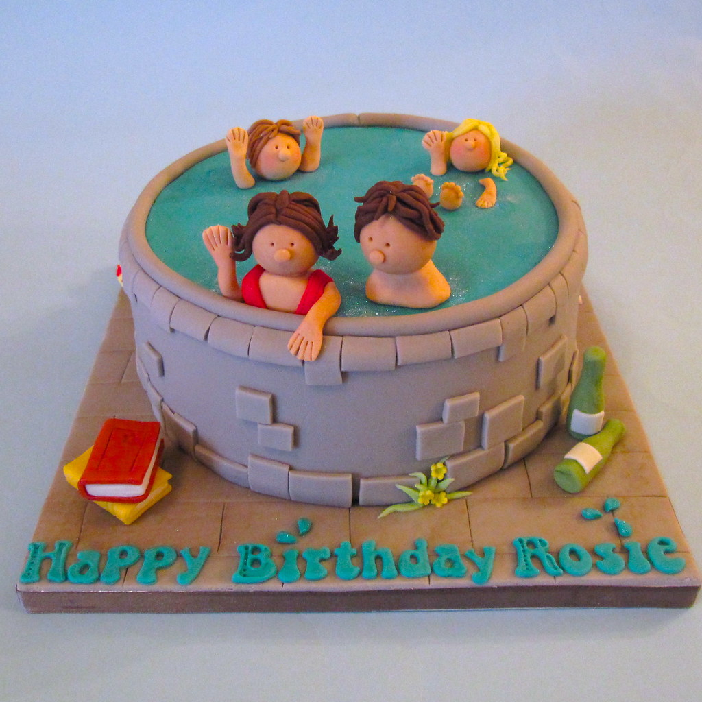 Marvelous Swimming Pool Cake A Swimming Pool Themed Birthday Cake Fo Flickr Personalised Birthday Cards Vishlily Jamesorg