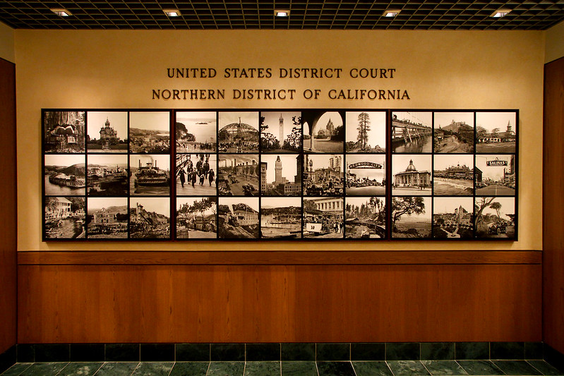 District History Mosaic, Mural outside Ceremonial Courtroom of the Northern District, U.S. District Court, 450 Golden Gate, San Francisco 19th floor