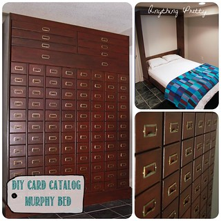 DIY card catalog murphy bed | by anythingpretty