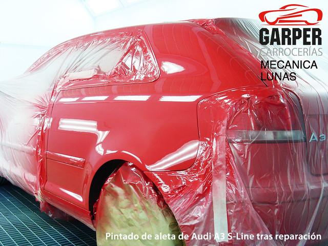 Pintado y secado de Audi A3 S-Line en cabina profesional de Carrocerías Garper en Gijón, Asturias