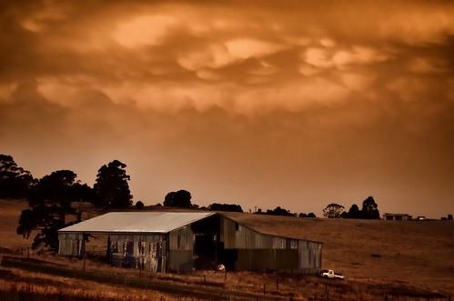 old autumn sunset sky cloud colour weather clouds rural evening nikon rust skies farm shed rusty australia victoria mamma vic corrugated gippsland mammatus warragul cumulonimbusmamma d5100 nikond5100 phunnyfotos