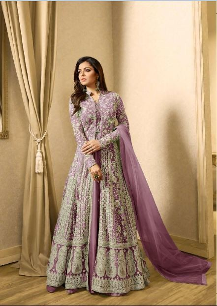 483d96d641 ... Indian Woman clothes Wedding Wear Party wear L.T Nitiya 1706 Pruple Net  With Embroidery work +
