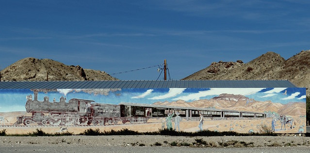 The Tonopah & Tidewater Railroad mural, Beatty Nevada.